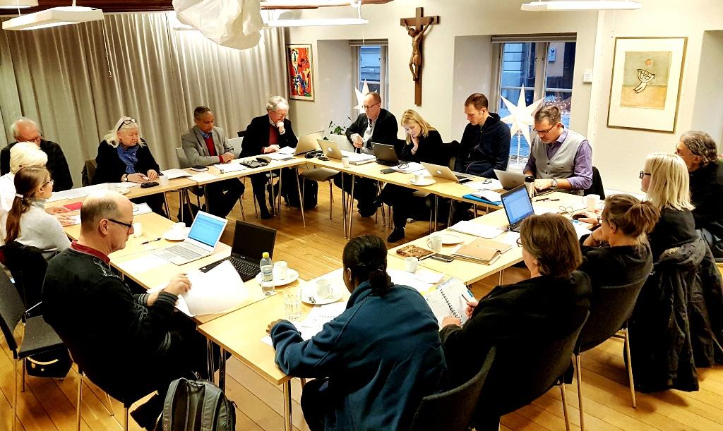 Migrations- och integrationsgruppen samlas en gång i månaden. Foto: Mikael Stjernberg.