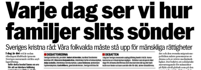 Kyrkoledare i Aftonbladet: Vi kräver att Sverige återinför rätten till familjeåterförening