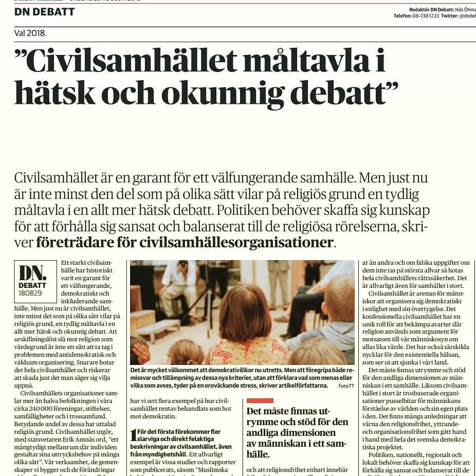 """SKR på DN debatt: """"Civilsamhället måltavla i hätsk och okunnig debatt"""""""