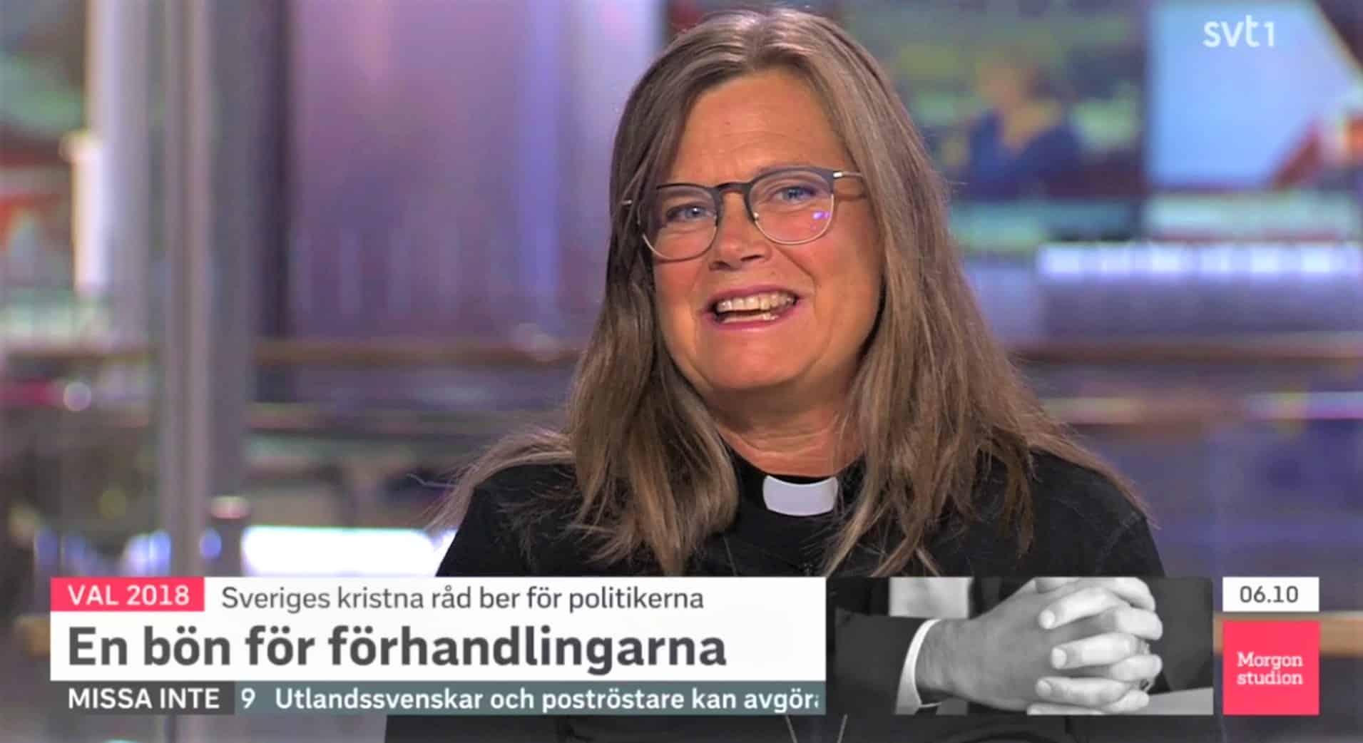 Karin Wiborn, generalsekreterare för Sveriges kristna råd medverkar i SVT:s Morgonstudion.