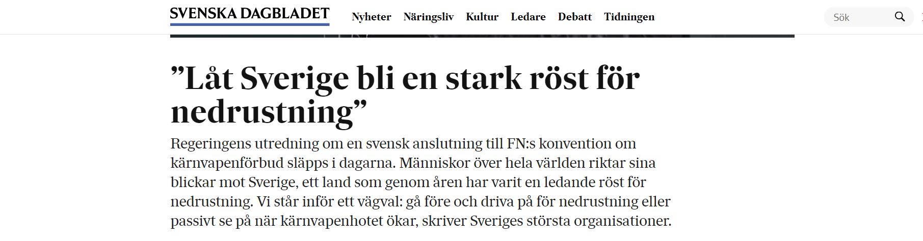 """""""Låt Sverige bli en stark röst för nedrustning"""""""