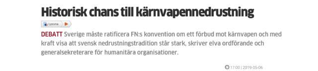 """""""Historisk chans till kärnvapennedrustning"""""""
