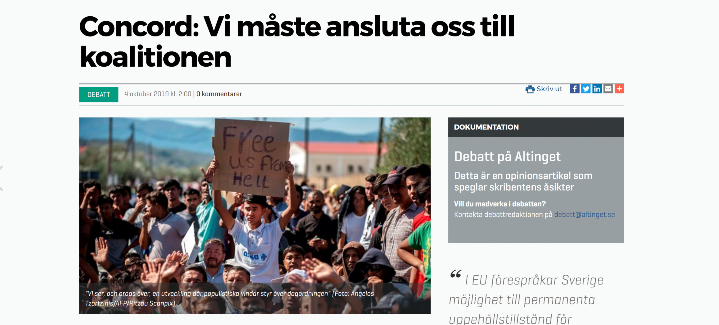 """Framtidens migrationspolitik: """"Vi måste ansluta oss till koalitionen"""""""